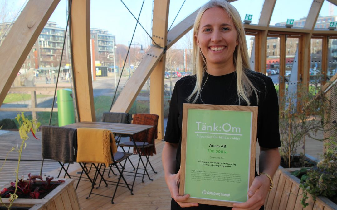 "Atium receives the energy-scholarship ""Tänk:Om"" from Göteborg Energi"